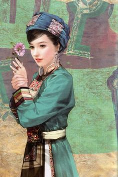 There are 56 ethnic groups in China that have been specifically recognized by the government. In this series, Taiwanese artist Chen Shu Fen (陈淑芬) has painted stunning portraits of women from each one in their traditional dress. This one here is of a Qiang woman.