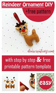 Reindeer ornament diy made with felt. See this easy Christmas craft idea, with free reindeer template plus step by step directions. Printable Christmas Ornaments, Reindeer Ornaments, Easy Christmas Crafts, Felt Ornaments, Simple Christmas, Easy Felt Crafts, Christmas Treat Bags, Fall Diy, Crafts For Teens
