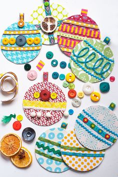 jolijou - flat fabric scrap ornaments