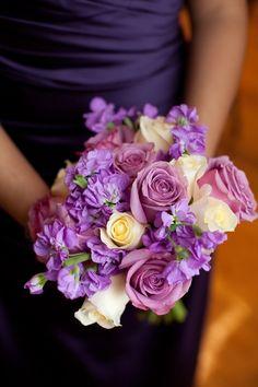 dark purple bridesmaid dress and pink, purple, yellow bouquet #purple #wedding https://www.facebook.com/DreampurpleUK