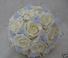 Blue Babies Breath   ... , IVORY ROSES, BABY BLUE BABIES BREATH, ARTIFICIAL WEDDING FLOWERS