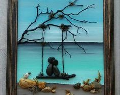 """Pebble Art Couple / Rock Art Couple in a swing on the beach, honeymoon, vacation, anniversary gift, love """"open"""" 8.5x11 frame (FREE SHIPPING)"""