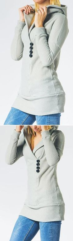 Hot Sale, Only $14.99! Free Shipping Now! Happily grey makes casual chic again. Hooded design keep you cute to hug cold weather. Do not miss it at Cupshe.com !