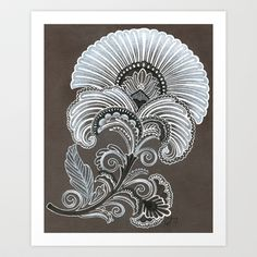 Art Deco Flower- I like the center, and the grey, black and white combo