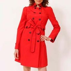 Spring showers? Make it hot like fire in this bright red raincoat by Johnson (oh, and that's navy blue piping!).