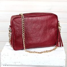 bag, leather bag, shoulder bag, real leather, bag, handbags, zipp, red, cotton lining, Matching Clutch, chain bag, gift for her, genuie by GoDecoShop on Etsy