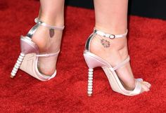 Katy Perry's baby pink diamond-embellished Grammy sandals.