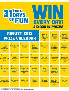 Enter to WIN the 31 Days of Sweeps from Purex AND $10 Amazon Gift Code Giveaway