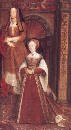 """Elizabeth of York and Jane Seymour (detail from the Whitehall Mural)"", from the 1667 copy by Remigius van Leemput of the 1537 original, by Hans Holbein the Younger (Flemish, 1497/98-1543). Elizabeth (1466-1503) was Queen consort of England as spouse of King Henry VII from 1486 until 1503, and mother of King Henry VIII of England. Jane Seymour was one of Henry VIII's queens, and would've been in the early stages of her pregnancy when she stood for the original painting in 1536-37."