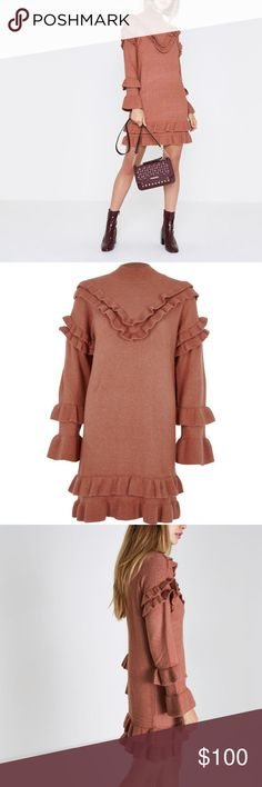 ♥︎BRAND NEW♥︎ Pink frill turtle neck knitted dress BRAND NEW with tag  • Mid weight knit fabric  • Frill detail • Turtle neck • Long sleeve River Island Dresses Long Sleeve