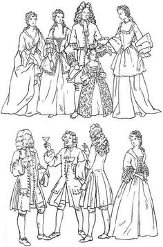 Clothing of 18th Century England 1700-1800.  Overview with line drawings.