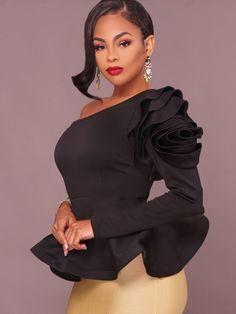 888284fed3ba Obique Collar Falbala Slim Pullover Women s Blouse