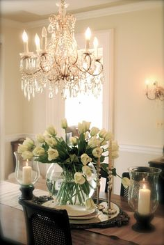chandelier in the dining room.