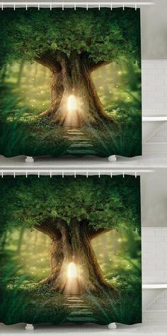 $16.83 Big Tree Print Waterproof Mouldproof Shower Curtain Gives me the idea of the tree house and Leprechaun mural l painted for the St. Patrick's dance in high school. ...