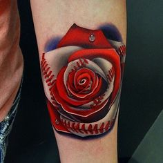 90 Realistic Rose Tattoo Designs For Men - Floral Ink Ideas Baseball Tattoos, Sport Tattoos, Baseball Nails, Baseball Memes, Baseball Videos, Texas Tattoos, Baseball Signs, Baseball Pictures, Boston Baseball