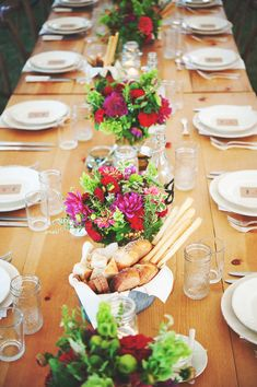 red, green and purple rustic centerpieces