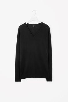 COS  V-neck merino jumper in Black