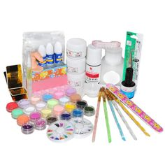 CosceliaFull Primer 24 Acrylic Powder UV Gel Liquid Nail Art Tips Pen Brush Kits Set -- This is an Amazon Affiliate link. Click on the image for additional details.