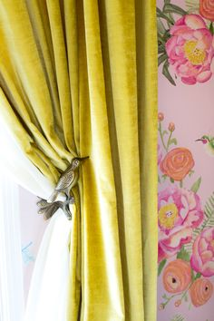 Can also be design inspiration for girls room. Tour a Glam Floral Nursery by Emily Henderson Yellow Curtains, Floral Curtains, Rustic Curtains, Drapes Curtains, Patterned Curtains, Luxury Curtains, Short Curtains, Vintage Curtains, Double Curtains