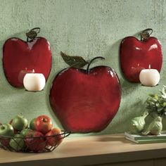 Apple Sconce Set from Through the Country Door? Kitchen Decor Sets, Apple Kitchen Decor, Red Kitchen, Kitchen Themes, Country Kitchen, Kitchen Ideas, Candy Apple Red, Red Apple, Apple Pie