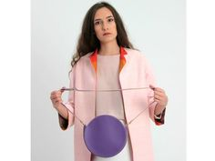 Buy Now Round Leather Bag Circle Crossbody Bag Purple Leather. Small Crossbody Bag, Leather Crossbody Bag, Leather Purses, Tote Bag, Purple Cross, Circle Purse, Small Leather Bag, Round Bag, Purple Bags