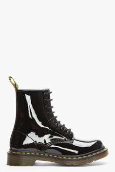 Dr. Martens Black Patent Leather 1460 W 8-eye Boots for women | SSENSE
