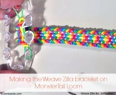Completing the Weave Zilla bracelet on Monster Tail Loom loom bands Rainbow Loom Tutorials, Rainbow Loom Patterns, Rainbow Loom Creations, Rainbow Loom Bands, Rainbow Loom Charms, Rainbow Loom Bracelets, Loom Bands Designs, Loom Band Patterns, Bracelet Patterns