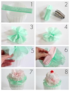 How to make tissue paper ice cream sundae decorations Dimples and Tangles 1950s Party Decorations, Ice Cream Decorations, Banquet Decorations, Decoration Party, Ice Cream Crafts, Diy Ice Cream, 50s Theme Parties, Grease Themed Parties, Party Themes