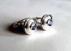 Special Edition of Fine Quality Round Natural Tanzanite Gemstone in 925 Sterling Silver Men's Cufflink Jewelry by SimSimSilver on Etsy