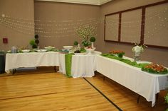 Hydrangea flower punch and satin ribbon for draped garland, cultural hall reception spring luncheon