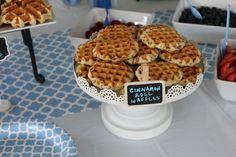 Cinnamon Roll Waffles  #pickyourplum  #minichalkboardsigns  #tablerunner  #paperplates  #treatstand