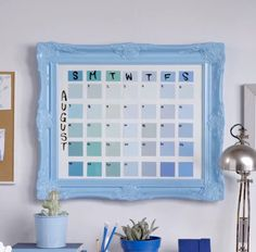 "DIY Calendar   16"" x 20"" picture frame Paint Swatches / Sticky Notes Dry Erase Marker"