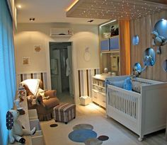 I absolutely LOVE this baby room!!! Especially the lights above the bed!