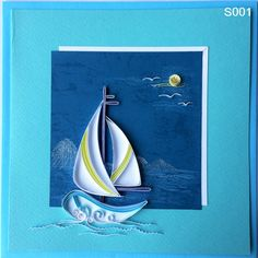 Do you love sea and boats? If you do, you cannot ignore this dramatic card. Arte Quilling, Paper Quilling Flowers, Quilling Work, Paper Quilling Patterns, Quilled Paper Art, Quilling Paper Craft, Paper Crafts, Quilling Birthday Cards, Quilled Creations
