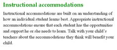 What is Instructional accommodations? IEP