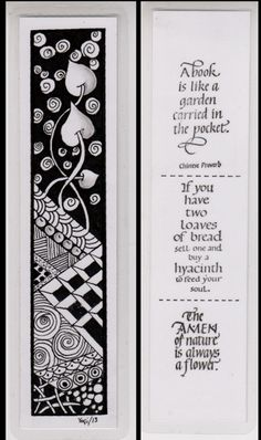 """Yogi Grunwald combined Zentangle art with #Quietfire rubber #stamps to create this beautiful bookmark: """"Nature Quote Marks"""" http://www.quietfiredesign.ca/product.php?productid=1144==1    Art with Yogi: Bookmarks Bri"""