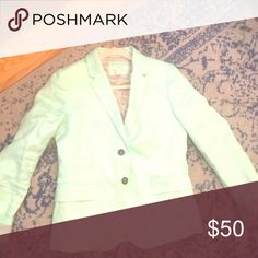 J.CREW blazer Mint green J.Crew blazer with black striped lining. size 4. Only worn once. Nothing wrong, just won't be wearing it again! J. Crew Jackets & Coats Blazers
