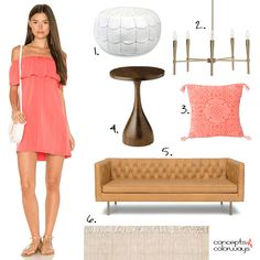 This peach and tan living room design was inspired by a coral dress outfit with white accessories. Tan leather, brass lighting, white leather and peach. Tan Leather Sofas, Leather Pouf, Coral Throw Pillows, Color Trends 2018, Moroccan Pouf, Modern Side Table, Coral Dress, Jute Rug, Modern Chandelier