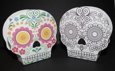 "Halloween Special - Dia de los Muertos Candy Box - by Shala Kerrigan  --    A beautiful Skull Candy box, created by designer Shala Kerrigan, from Don`t Eat the Paste website. Download and color your own Dia de los Muertos ""Calavera"" and make your Halloween more colorful and funny."
