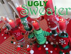 Cute decor featuring ugly sweaters for an ugly sweater Christmas party