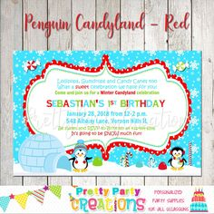 Your place to buy and sell all things handmade Red Lollipop, Gum Drops, Candyland, All Design, Penguins, Rsvp, Handmade Items, Etsy Shop, Invitations