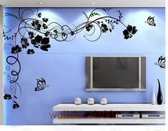 Vinyl Wall Decal, Graphic, Wall Sticker, Art- Beautiful Flower With Butterfly 3