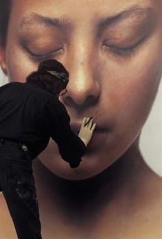 "Gottfried Helnwein working on ""Head of a Child II"", 1998, oil and acrylic on canvas"