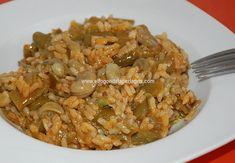 Habas con arroz . Hoy hicimos una parada en Chiclana de la Frontera (Cádiz), y he preparado un plato de habas con arroz para quitarse el ...
