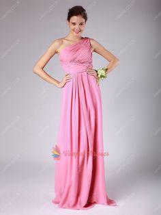 129.00$  Watch here - http://viayq.justgood.pw/vig/item.php?t=v8ym8335508 - Elegant Pink One Shoulder Pleated Bodice Chiffon Long Bridesmaid Dresses
