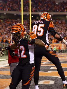 Bengals Jeremy Hill and Tyler Eifert celebrate Eifert's third touchdown against the Browns.  The Enquirer/Cara Owsley