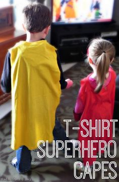 T-Shirt Superhero Capes tutorial Large t-shirts from thrift stores or dollar tree. May need to try this, keep the stretchy collar which would be way more comfortable than velcro and felt, I think.