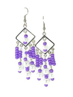 These #ChandelierEarrings are made with #Purple glass beads and #White glass #Pearls.  The earrings are about .75 inch wide and hang about 2.5 inches.  #taraelisabethdesigns #Handmade #HandmadeJewelry #Jewelry #FashionJewelry