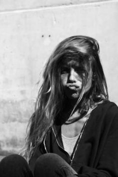 What you got to pout about? | Hair - Long, mussed, messy, tousled, tangled, textured. Flipped to one side.