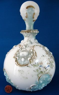 Blue Milk Glass Dresser Bottle With Stopper Victorian